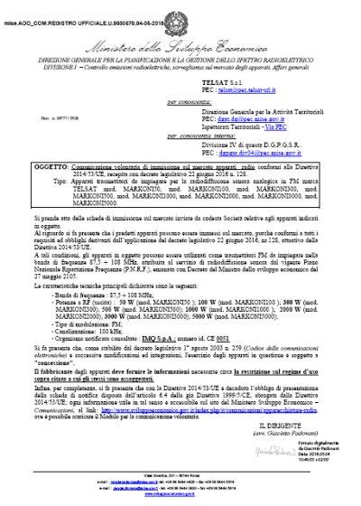 CE Italian Certificate